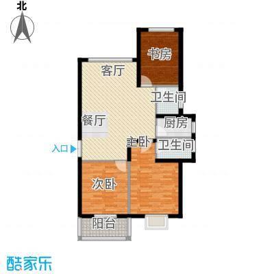 滨海国际124.83㎡A户型3室2厅2卫