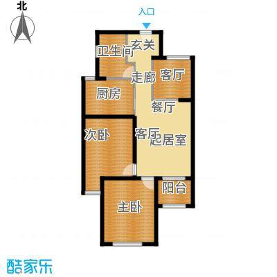 京东紫晶90.00㎡M户型2室1厅1卫1厨