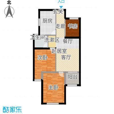 京东紫晶80.00㎡M户型3室1卫1厨