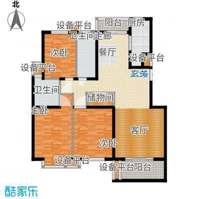 维多利金色华府147.44㎡三室两厅两卫户型