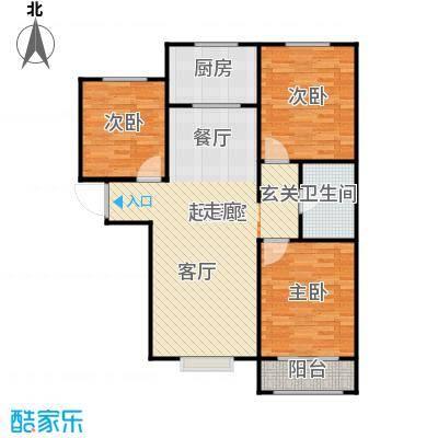 衡水金海岸A户型三室两厅一卫115平户型3室2厅1卫