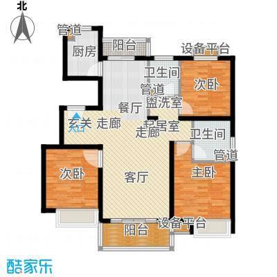 中电蓝色港湾118.00㎡D户型 3室2厅2卫 118平户型3室2厅2卫