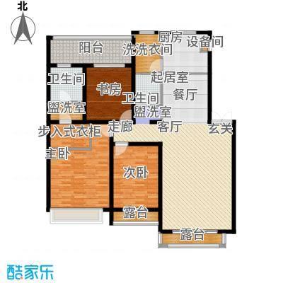 锦绣澜湾188.00㎡C户型三室二厅二卫户型3室2厅2卫