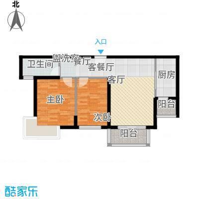 郑西鑫苑名家户型2室1厅1卫1厨