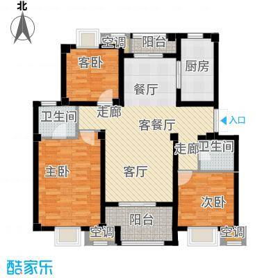 邦泰中央御城116.00㎡C户型 3室2厅2卫2阳台户型3室2厅2卫
