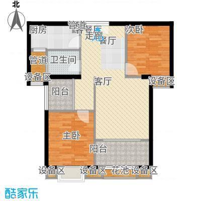 ECO城86.00㎡5# 6# 7# 86㎡两室两厅一厨一卫两阳台户型2室2厅1卫