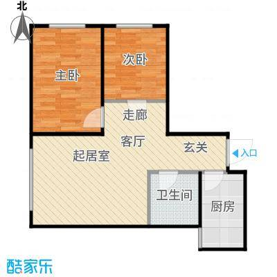普利林景山庄2室1厅1卫1厨73.69㎡A4二层户型图户型2室1厅1卫