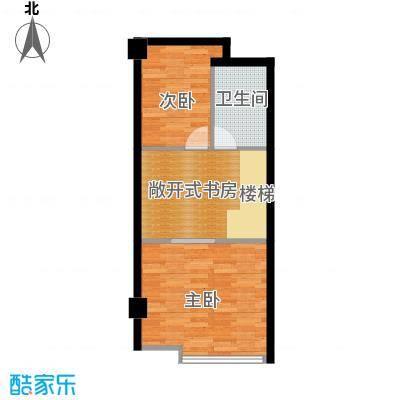 诚基百家湖小公馆47.00㎡挑高49米公寓顶层户型2室1卫