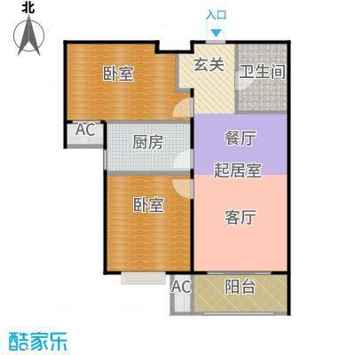 金隅满堂87.00㎡90㎡两室两厅一卫户型2室2厅1卫