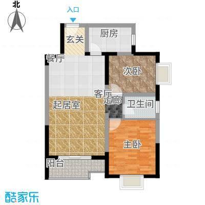 学林雅苑,长安星园87.85㎡F户型 两室两厅1卫 4.2米南向客厅,外接同宽阳台,南向主卧,全明通透户型