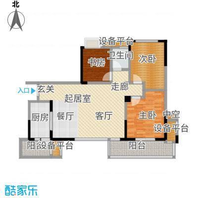 龙湖时代天街105.00㎡A2户型三室两厅一卫建筑面积105平米户型3室2厅1卫