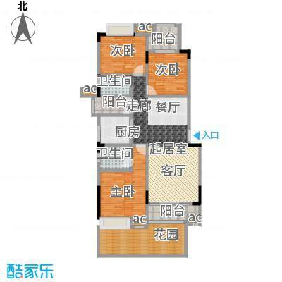 君山公馆114.80㎡A7栋1单元01首层户型3室2厅2卫