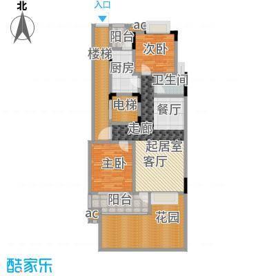君山公馆91.50㎡A7栋1单元02首层户型2室2厅2卫