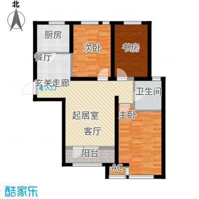 呼和浩特永泰城108.00㎡二期C户型2室2厅1卫