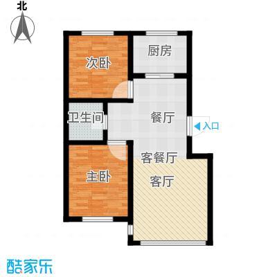 金鼎凤凰城77.71㎡B1户型2室2厅1卫1厨 77.71㎡户型2室2厅1卫