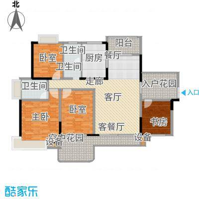 学府港湾户型2室1厅2卫1厨