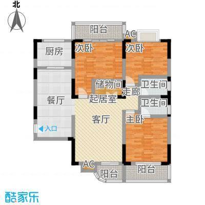 长城国际广场131.00㎡B户型 三室两厅一厨两卫 131平米户型3室2厅2卫
