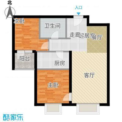 万达广场户型2室1卫1厨
