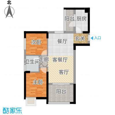 中铁城锦南汇78.00㎡D户型2室2厅1卫