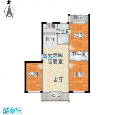 梧桐苑户型3室2卫1厨