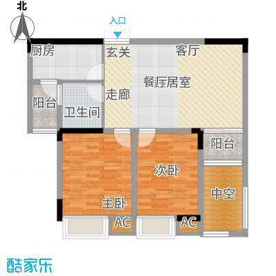 顺源北湖一号90.00㎡2、3栋户型2室2厅1卫