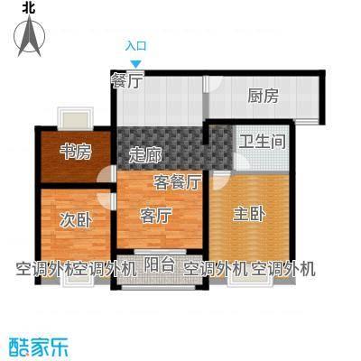 上海花园101.60㎡A1 三室两厅一卫 101.6平米户型3室2厅1卫