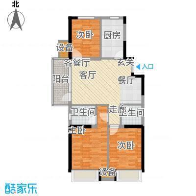 美的城105.00㎡B1户型 三室二厅二卫户型3室2厅2卫