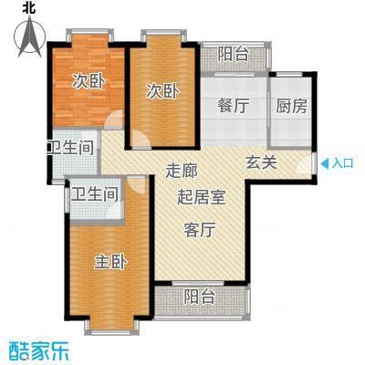 锦泰山水缘二期115.27㎡13栋A户型三室两厅一厨两卫户型3室2厅2卫