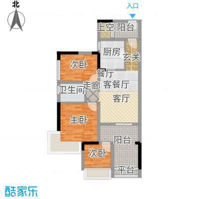 西湖怡景园85.00㎡E户型三房一卫85平米户型3室2厅1卫
