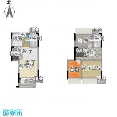 西湖怡景园C户型一房两卫99平米户型1室2厅2卫
