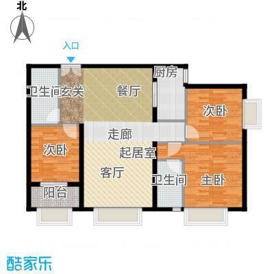 万达广场户型3室2卫1厨