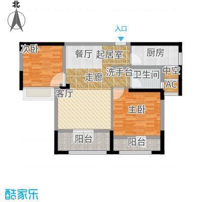 绿地中央广场88.57㎡A1户型2室2厅1卫