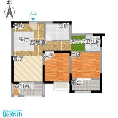 绿地中央广场88.85㎡玲珑雅阁户型2室2厅1卫