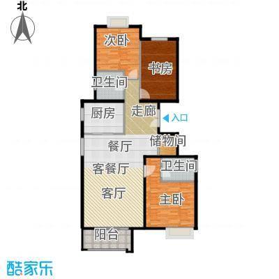 住总尚清湾124.53㎡三室两厅户型