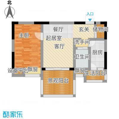 恩威・玲珑南域一房一厅一卫 60平方米户型