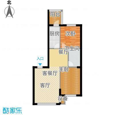 东升御景苑二期82.06㎡两室两厅一卫户型2室2厅1卫