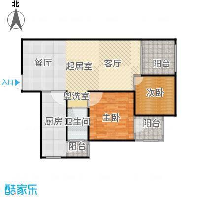 劲风财智领域86.95㎡公寓A3户型图户型2室2厅1卫