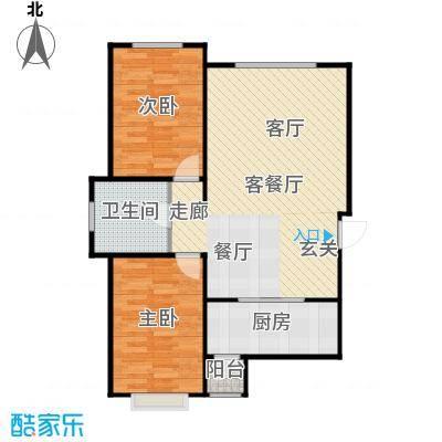 新华名座D座住宅户型2室1厅1卫1厨