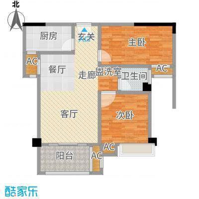 禹洲城上城3#02、03单元两房两厅,约77㎡户型2室2厅