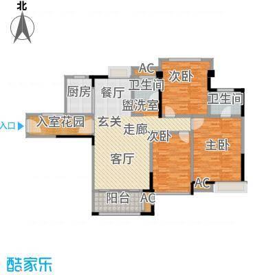 禹洲城上城3、5号楼01、04单元三房二厅二卫,约115㎡户型3室2厅2卫