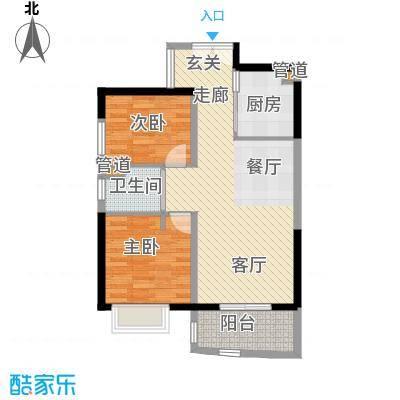 华融琴海湾80.00㎡B2-1户型2室2厅1卫