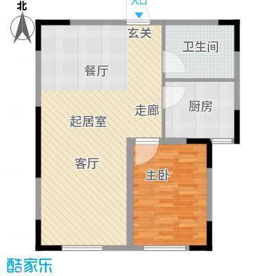 天富御苑67.40㎡A户型1室2厅1卫