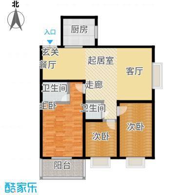 高新领域119.00㎡119平米三室两厅两卫户型