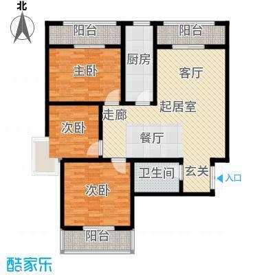 高新领域115.00㎡115平米三室两厅一卫户型