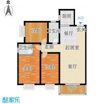 高新领域133.00㎡133平米三室两厅两卫户型