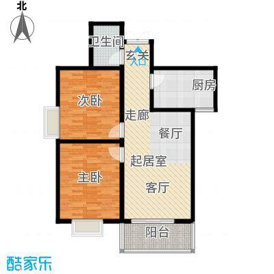 高新领域93.00㎡93平米两室两厅一卫户型