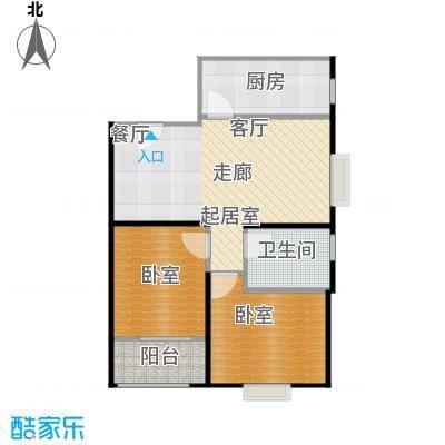 富丽国际花园8-F户型2室2厅1卫1厨户型