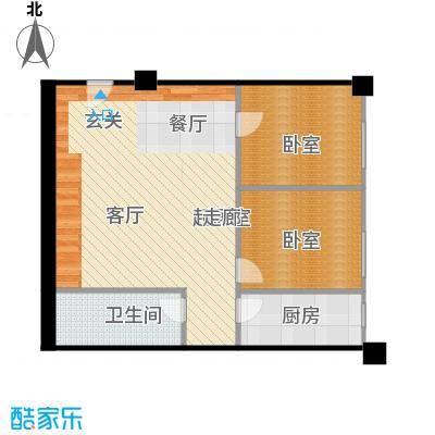 富丽国际花园3-C2户型2室2厅1卫1厨户型