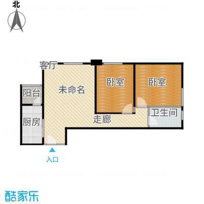 富丽国际花园3-A2户型2室1厅1卫1厨户型