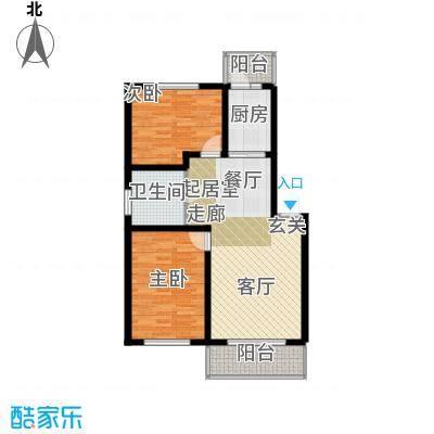 联通名苑96.30㎡C单元平面图户型2室1厅1卫